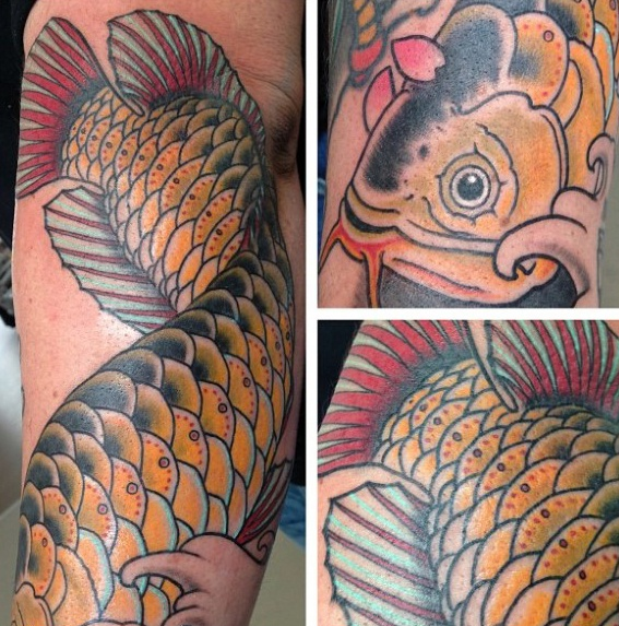 40 Arowana Tattoo-Designs für Männer - Fisch-Tinten-Ideen