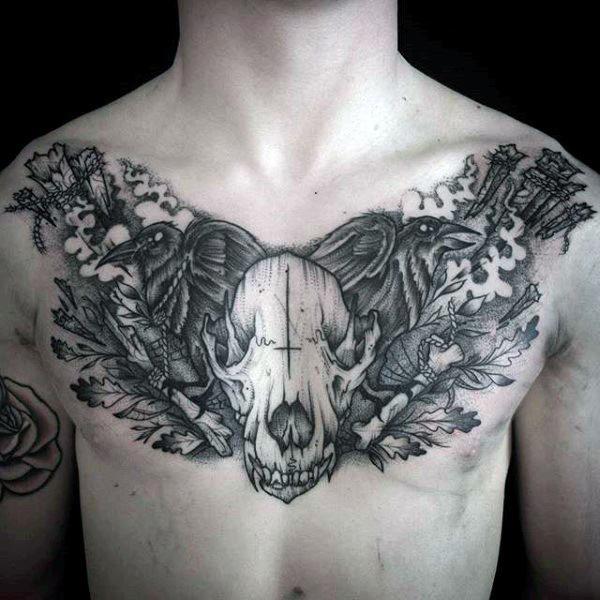 70 Wolf Skull Tattoo Designs für Männer - Maskulin Ink Ideen