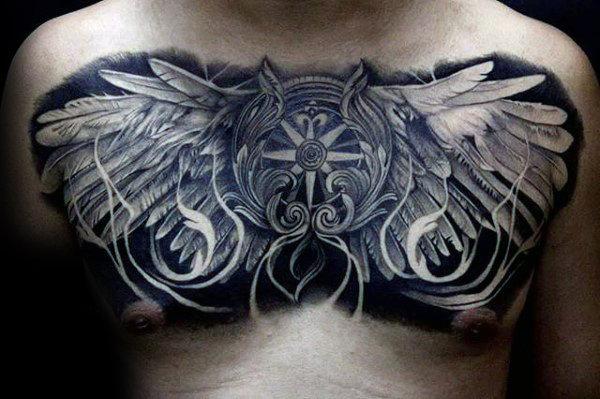 40 Wing Chest Tattoo Designs für Männer - Freedom Ink Ideen
