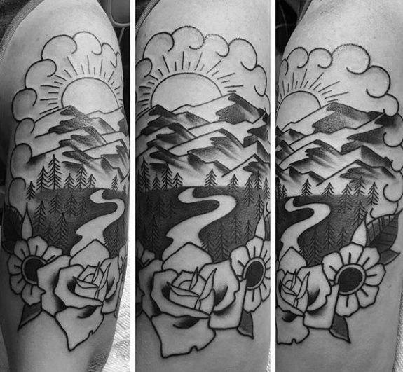 40 traditionelle Berg Tattoo Designs für Männer - Old School Ink Ideen