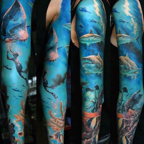 70 Unique Sleeve Tattoos für Männer - ästhetische Tinte Design-Ideen
