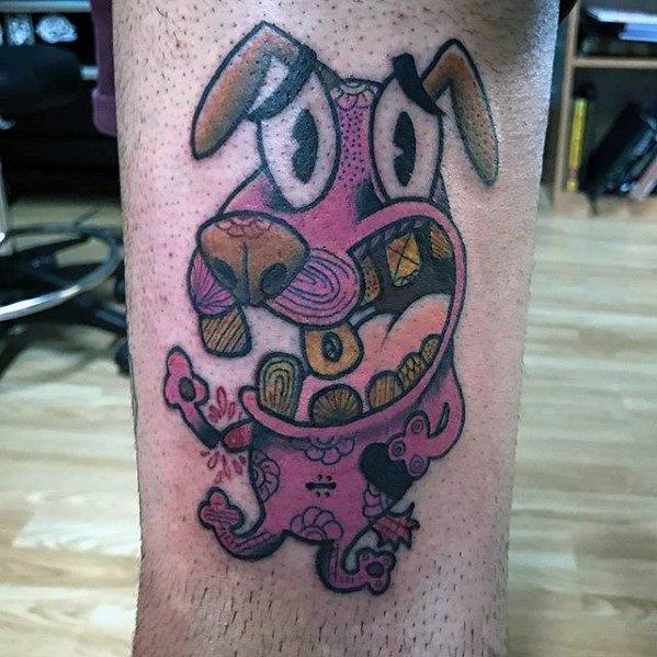 40 Mut der feige Hund Tattoo-Designs für Männer - Cartoon-Ideen