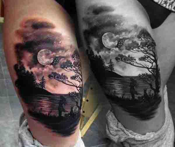 90 Mond Tattoos für Männer - Schiff des Lichts auf dem