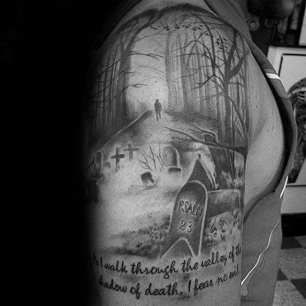 40 Psalm 23 Tattoo Designs für Männer - Bibel Vers Ink Ideen