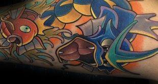 30 Magikarp Tattoo Designs für Männer - Pokemon Fisch Ideen