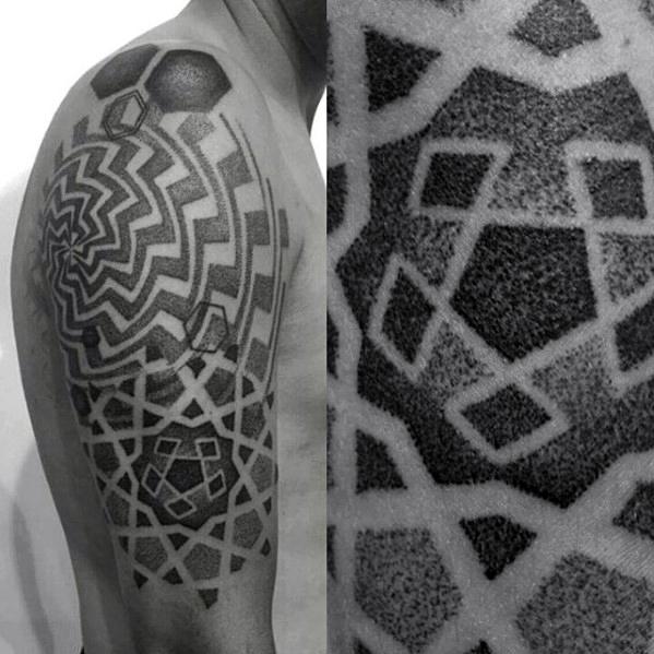 50 geometrische Arm Tattoo Designs für Männer - Bizeps-Tinten-Ideen