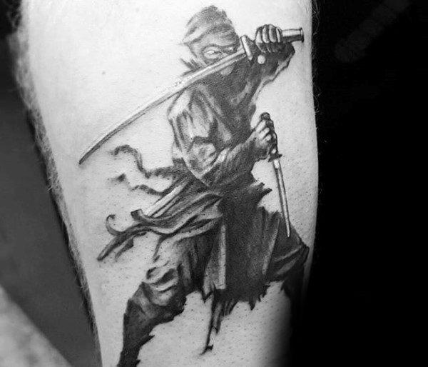 30 Ninja Tattoos für Männer - alte japanische Krieger Design-Ideen
