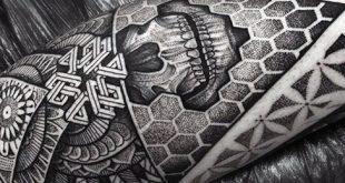 50 geometrische Bein Tattoos für Männer - Maskuline Design-Ideen