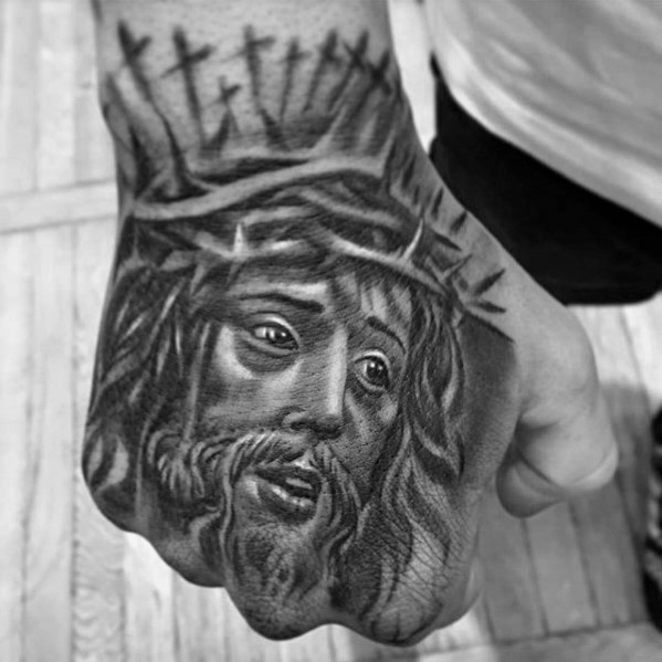 20 jesus hand tattoo designs f r m nner christus tinte. Black Bedroom Furniture Sets. Home Design Ideas