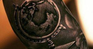 50 Weltkarte Tattoo-Designs für Männer - Abenteuer auf der ganzen Welt