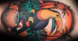 50 Tukan Tattoo Designs für Männer - große Schnabel Vogel Tinte Ideen