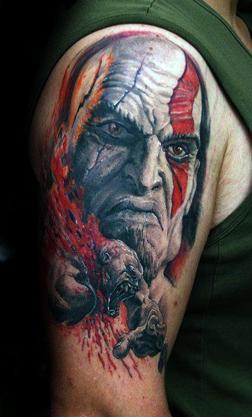 30 Kratos Tattoo-Designs für Männer - God Of War Ink-Ideen