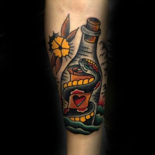 40 Nachricht in einer Flasche Tattoo Designs für Männer - Manly Ink Ideen
