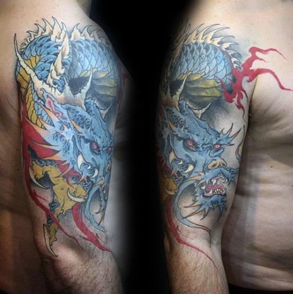 70 Dragon Arm Tattoo Designs für Männer - Fire Atmung Tinte Ideen