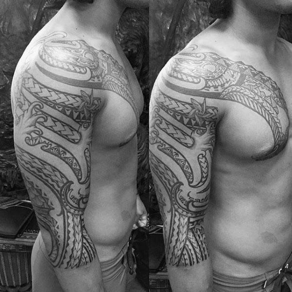 50 polynesischen Half Sleeve Tattoo Designs für Männer - Tribal Ink Ideen