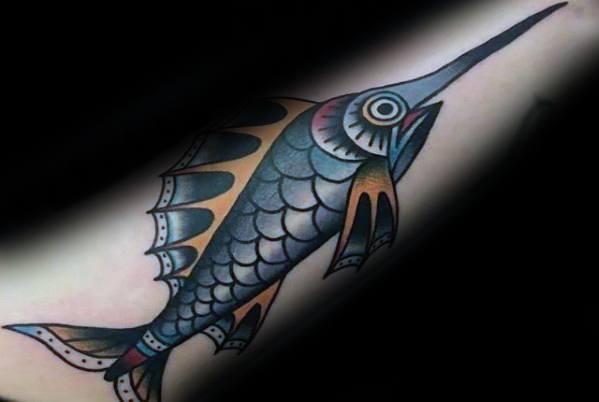 40 Schwertfisch Tattoo Designs für Männer - Billfish Ink Ideen