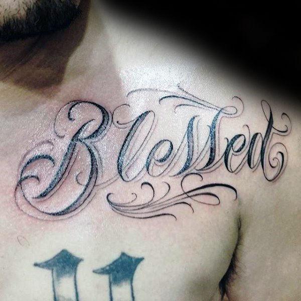 60 gesegnete Tattoos für Männer - biblische Schriftzug Design-Ideen