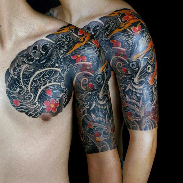 50 Koi-Drache-Tätowierungs-Entwürfe für Männer - japanische Fisch-Tinten-Ideen