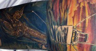 75 Angeln Tattoos für Männer - Reel In Manly Design-Ideen