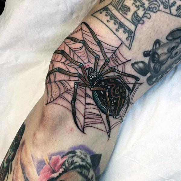80 Spider Web Tattoo Designs für Männer - Tangled Muster Ideen