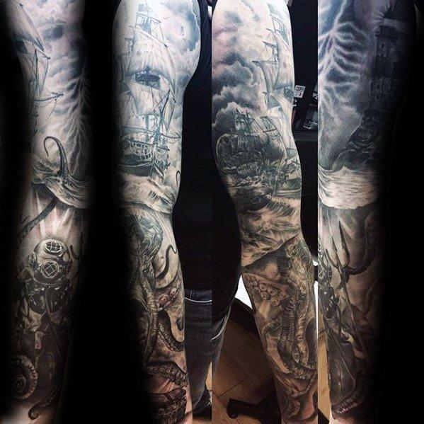 60 Taucherhelm Tattoo Designs für Männer - Deep Sea Ideen