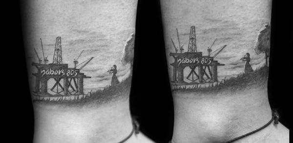 40 Ölfeld-Tätowierungen für Männer - Öl-Arbeiter-Tinten-Design-Ideen