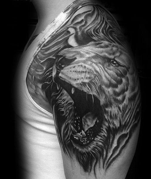 50 Löwen Schulter Tattoo Designs Für Männer Maskulin Ink Ideen