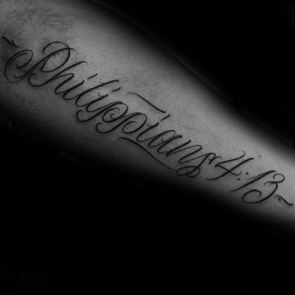 40 Philipper 4:13 Tattoo Designs für Männer - Bibel Vers Ink Ideen