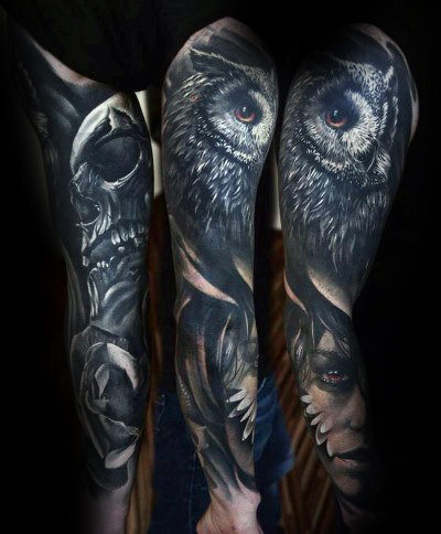 40 Realistische Eule Tattoo Designs Fur Manner Nachtliche Vogel