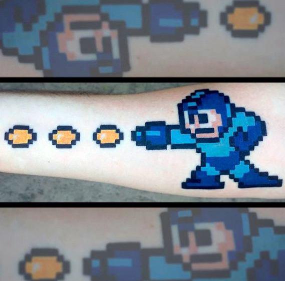 50 Megaman Tattoo Designs für Männer - Videospiel-Tinten-Ideen