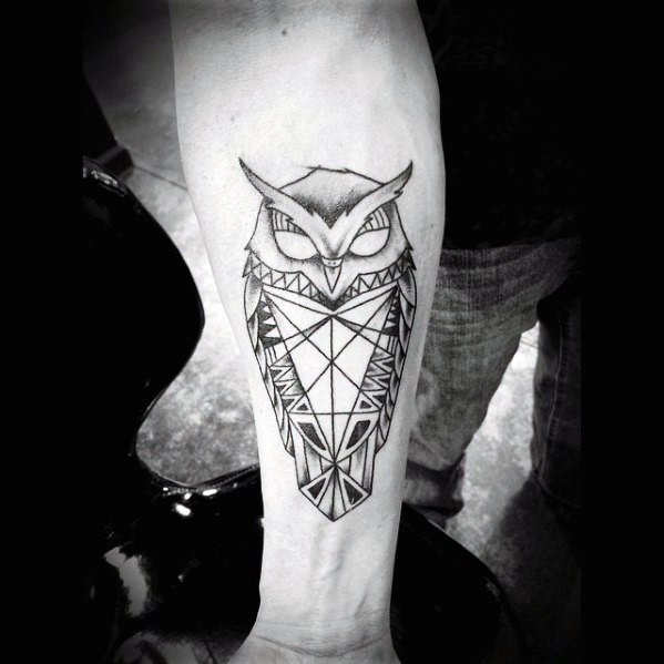 80 geometrische Eule Tattoo Designs für Männer - Form Ink Ideas