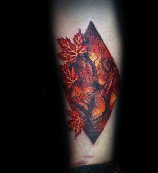 50 Herbst Tattoos Fur Manner Autumn Ink Design Ideen Mann Stil