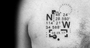 50 Koordinate Tattoo Ideen für Männer - Geographische Wahrzeichen Designs