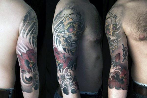 40 japanische Schädel Tattoo Designs für Männer - Cool Cranium Ink Ideen