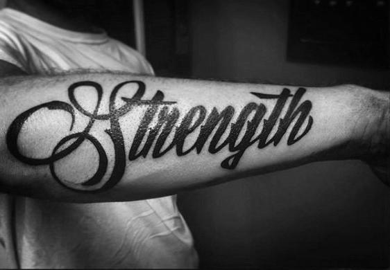 60 Kraft Tattoos Fur Manner Mannliche Wort Design Ideen Mann