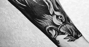 40 Wolf Unterarm Tattoo Designs für Männer - männliche Tinte Ideen