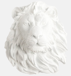 Weißer Harz Lion Head Wall Decor Skulptur