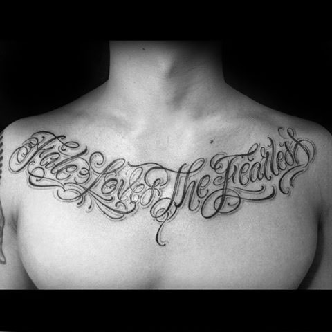 20 furchtlose Tattoo Designs für Männer - leistungsstarke Word Ink Ideen