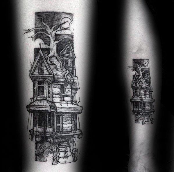 60 Spukhaus Tattoo-Designs für Männer - Spuk-Spot-Ink-Ideen
