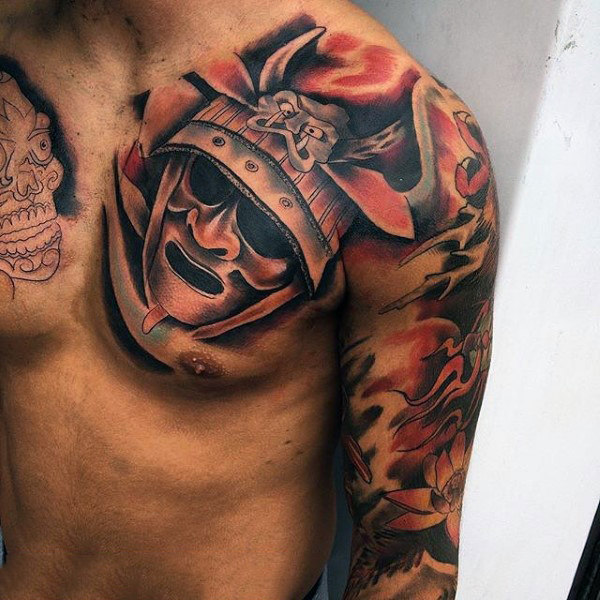 100 japanische Samurai Maske Tattoo Designs für Männer - Schädel Rüstung Tinte