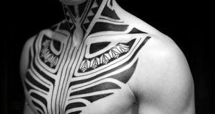 40 Tribal Neck Tattoos für Männer - Manly Ink Ideen