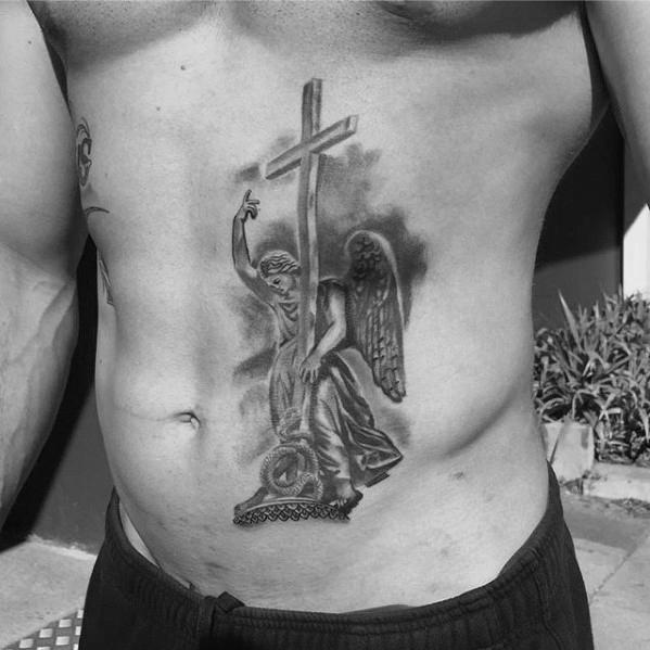 40 Engel Statue Tattoo Designs für Männer - geschnitzte Stein Tinte Ideen