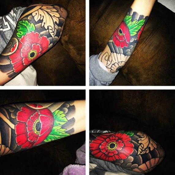 75 Mohn Tattoo Designs für Männer - Remembrance Flower Ink