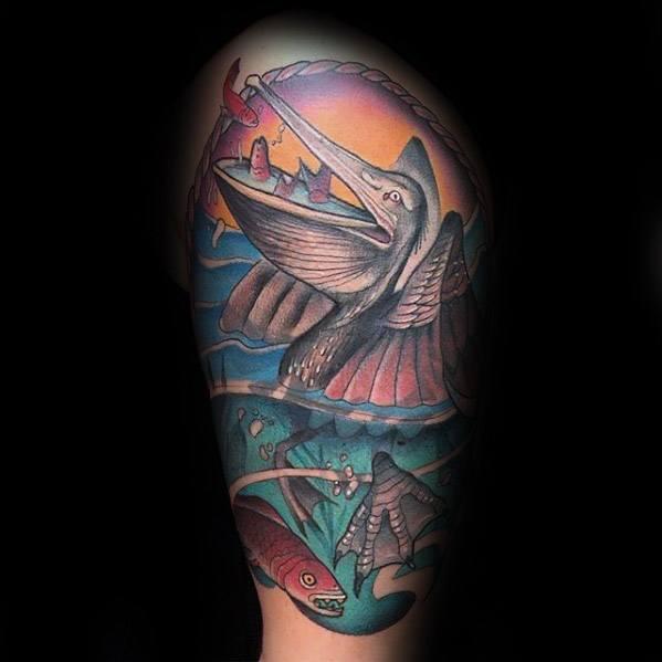 50 Pelikan Tattoos für Männer - Wasservogel Design-Ideen
