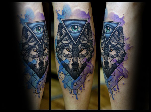 50 Wolf Aquarell Tattoo Designs für Männer - Cool Ink Ideas