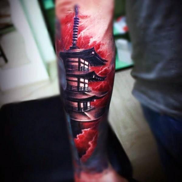 60 Pagode Tattoo Designs für Männer - abgestufte Turm Tinte Ideen