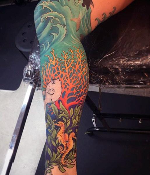 75 Strand Tattoos für Männer - Serene Sandy Shore Designs