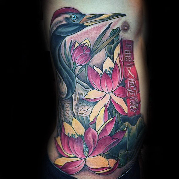 60 Crane Tattoo Designs für Männer - Maskuline Vogel Tinte Ideen