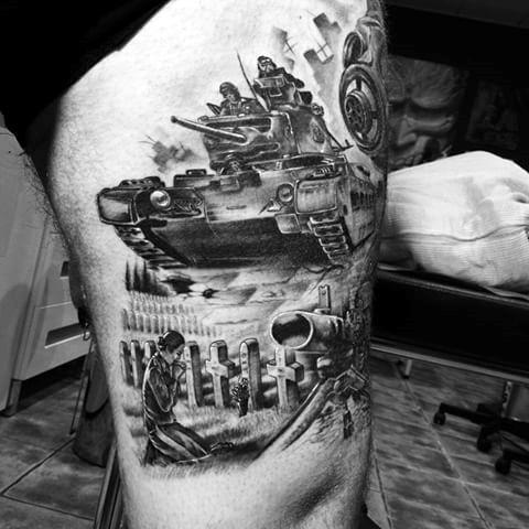 60 Tank Tattoos für Männer - gepanzerte Fahrzeugtinte Ideen