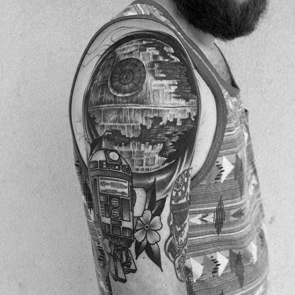 60 Todesstern Tattoo Designs für Männer - Star Wars Ideen
